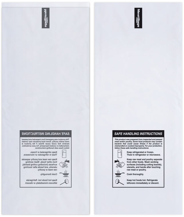 1lb Clear W Safe Handling Instructions Meatbags